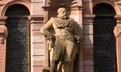 Johann Casimir von der Pfalz, Figur am Friedrichsbau in Schloss Heidelberg; Foto: Staatliche Schlösser und Gärten Baden-Württemberg, Achim Mende
