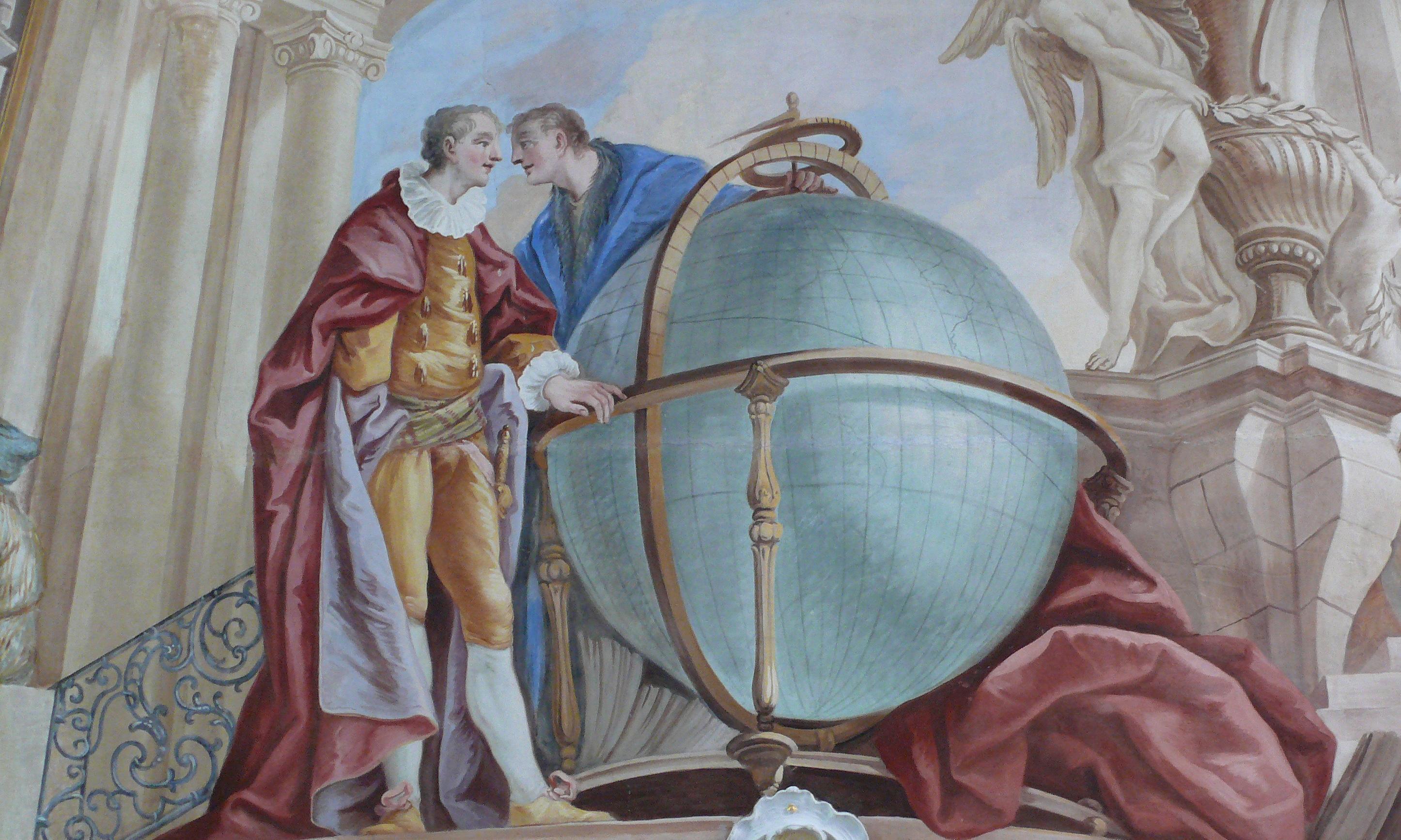 Die Erde, dargestellt als Globus, in einem Gemälde in der Galerie im Bibliothekssaal von Kloster Schussenried; Foto: Schlossverwaltung