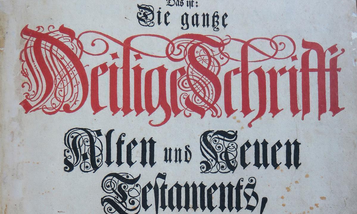 """Ausschnitt aus dem Titelblatt der gedrucken """"Pfaff-Bibel""""; Foto: M. Ernst Wahl"""