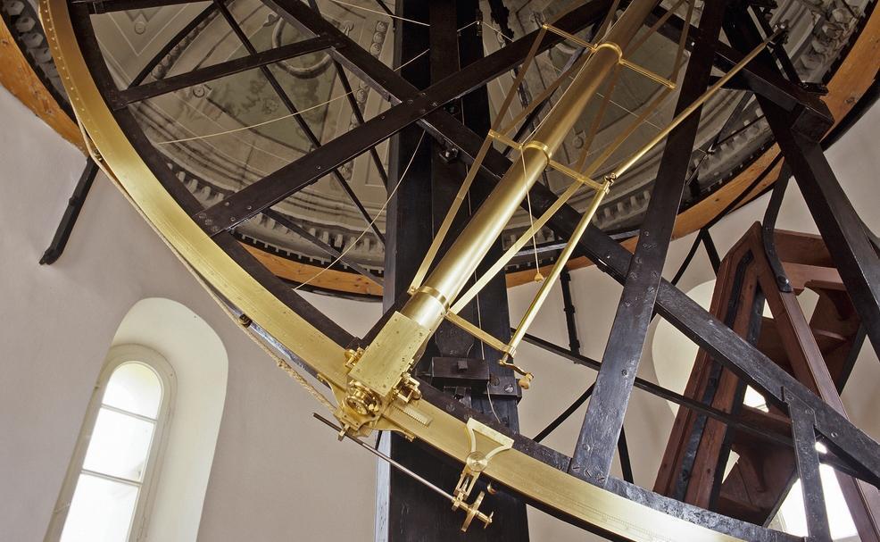 Azimutalquadrant in der Sternwarte von Kloster Ochsenhausen; Foto: Steffen Hauswirth
