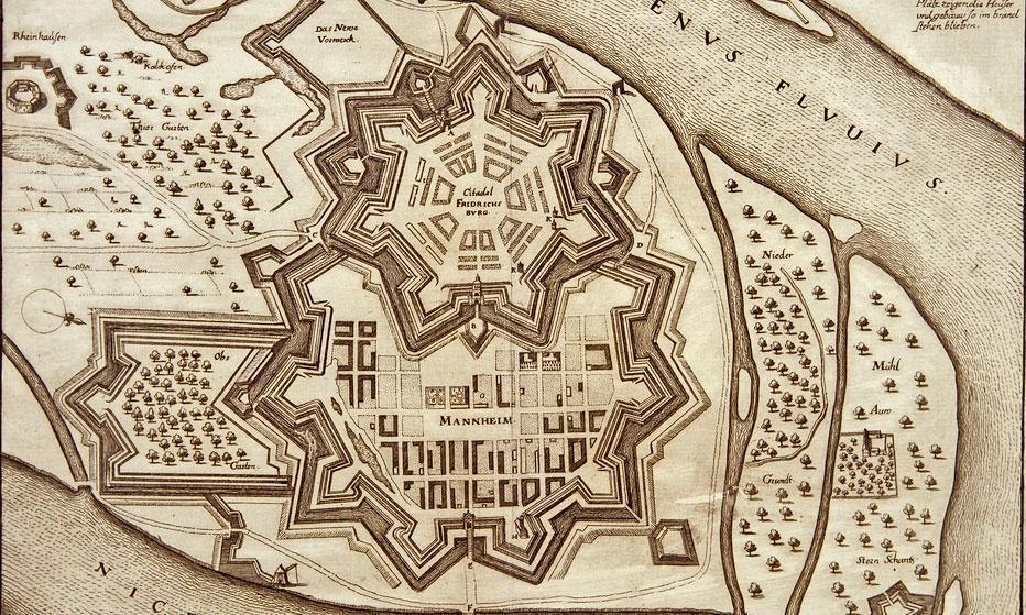 Kupferstich von Stadt und Zitadelle Mannheim, 17. Jahrhundert; Foto: Staatliche Schlösser und Gärten Baden-Württemberg, Andrea Rachele