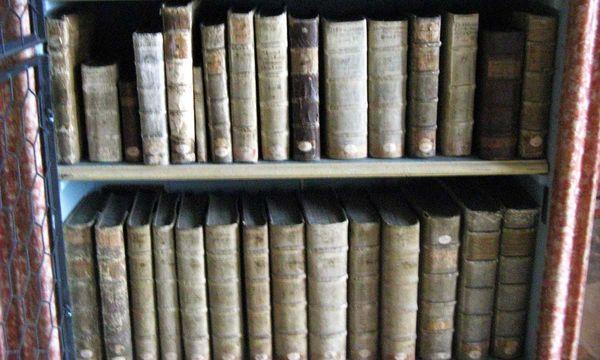 Bücher in einem Bücherregal der Klosterbibliothek in Wiblingen