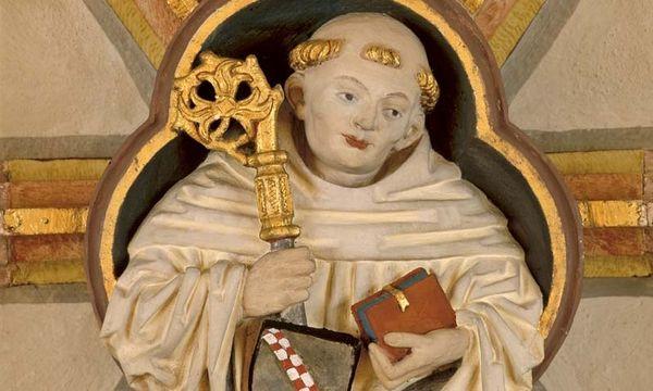 Der heilige Bernhard von Clairvaux, Schlussstein im Kreuzgang von Kloster Maulbronn
