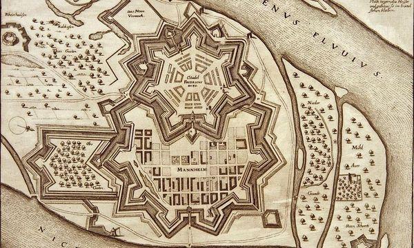Kupferstich von Stadt und Zitadelle Mannheim, 17. Jahrhundert