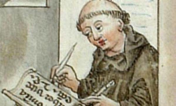Nicolaus de Lyra diktiert seinem Schreiber, Wiblingen, 1454