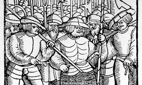 Bewaffnete Bauern, zeitgenössischer Holzschnitt