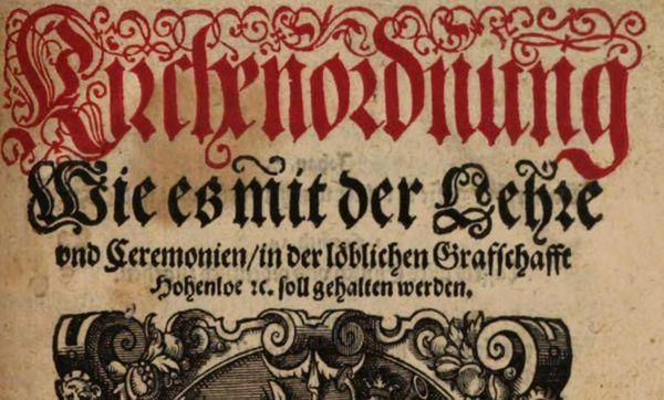 Ausschnitt des Titelbilds der Hohenloher Kirchenordnung